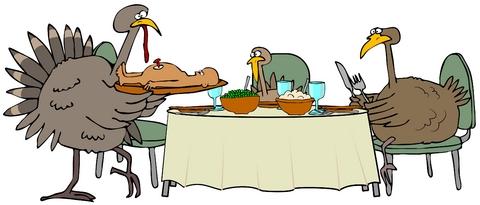 Turkeys having dinner